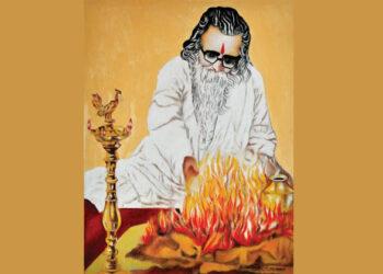 കോഴിക്കോട് പാറോപ്പടിയിലെ  വി.അനില്കുമാര് വരച്ച ചിത്രം- ആത്മാഹുതി